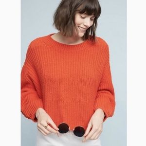 Anthropologie Moth Orange Oversized Crop Sweater S